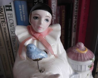 Vintage Schmid Pierrot Love music box with animated blue bird,Rhapsody on a theme by paganini,Michael Oks,music box,harlequin,bluebird