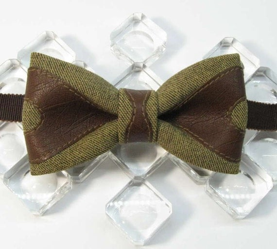 MADE to ORDER steampunk style bow tie suit fabric leather