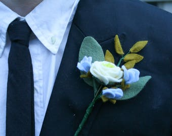 Handmade Felt Flower Wedding Boutonniere, Groom