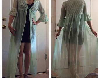 Vintage mint colored lace and ruffle dressing gown