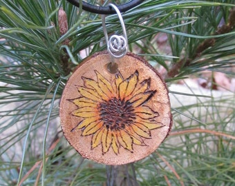 Sunflower Necklace, Sunflower Wooden Necklace, Rustic Sunflower Necklace, Rustic Wood Slice Necklace, Wooden Sunflower Jewelry, Sunflower