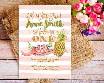 1st birthday pineapple invitations, pink pineapple invitations, pineapple summer birthday party, turning one invitations, girl pineapple