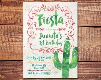Fiesta Birthday Invitation, Fiesta Invitation, Fiesta Kids Birthday Invitation, Mexican Fiesta Invitation, Kids Birthday Party Invitation