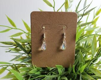 Handmade Earrings - Iridescent Rain Drop Earrings,jewelry,ears,pierced,piercing,lobe,simple,classy,jewellery,rain,water,crystal,tear,clear