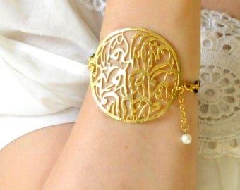 islamic bracelet muslim 18 gold coated bangle quran calligraphy religious  Allah bracelet, Arabic God, elham nazar quran, religious, Arabic