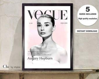 Audrey Hepburn print, Vogue Poster, Vogue Cover 1959 Audrey Hepburn, Instant Download, Printable art, Celebrity Art print, Vogue Vintage Art
