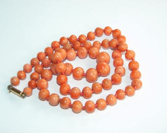 antique necklace genuine CORAL beads necklace ~ 15ct gold clasp - inA2696
