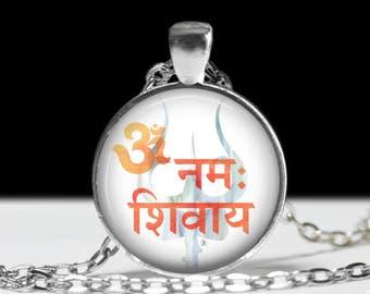 "Om Namah Shivaya Necklace - Shivaite Mantra Jewelry - Lord Shiva Hindu Pendant - Sanskrit Devotional Worship - 1"" Silver & Glass Pendant"