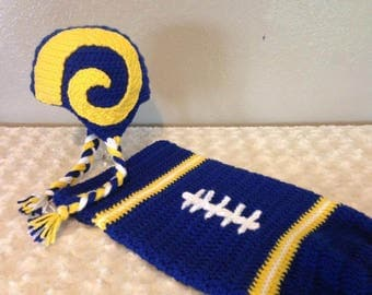 Baby FOOTBALL Cocoon, NEWBORN Football swaddle, Los Angeles Rams Inspired (Handmade by me and not affiliated with the NFL)