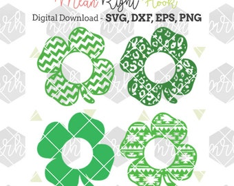 Monogram Shamrock SVG, St Patricks Day svg, INSTANT DOWNLOAD vector files for cutting machines, svg, png, dxf, eps (monograms not included)