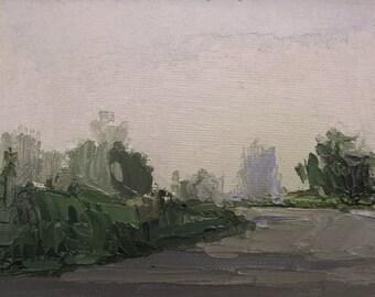 Before the Rain, Original plein air palette knife landscape painting on 4x6 canvas board.