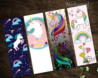 Unicorn Bookmarks | Printable Set of 4 Rainbow Unicorn Bookmarks |  Galaxy Unicorns