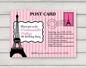 paris themed invitations  etsy, Bridal shower invitations