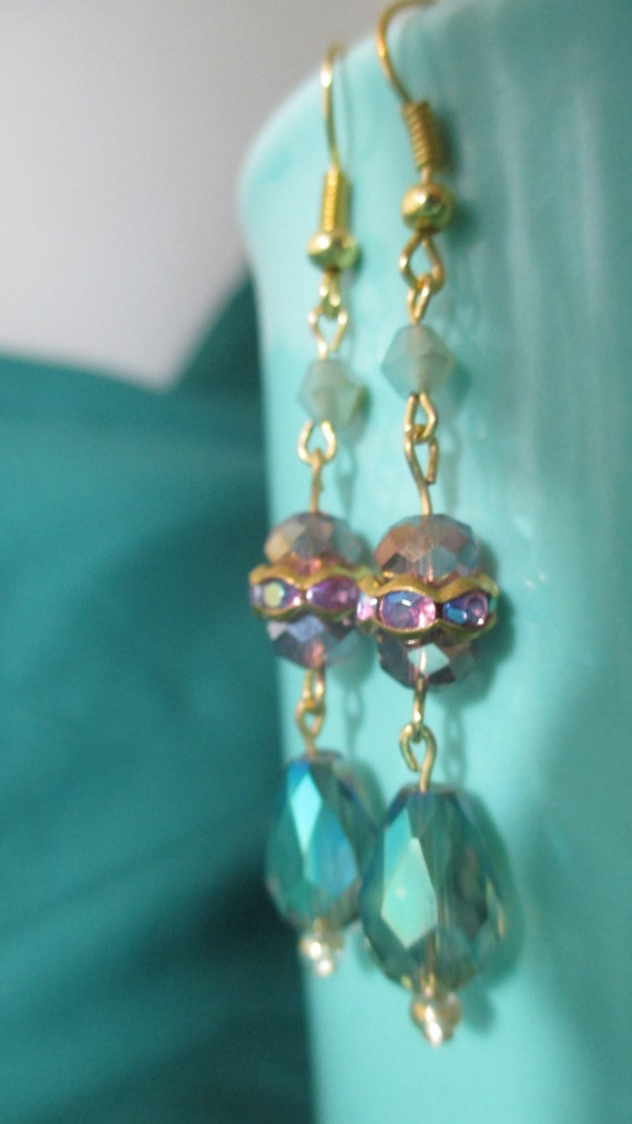 gold ear rings with amethyst colored stones and crystals free shipping set