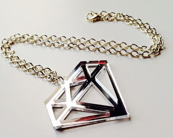 Sale | Diamond | Old School | Tattoo | Mirrored | Silver | Laser Cut | Acrylic | Necklace