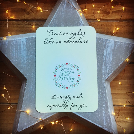 Treat everyday like an adventure quote card with choice of charm madebygreenberry wish bracelet
