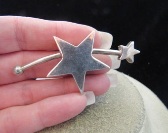 Vintage Large Sterling Silver Shooting Stars Pin