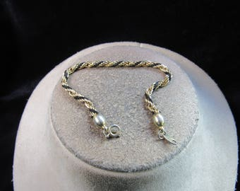 Vintage Signed Trifari Goldtone & Black Rope Bracelet