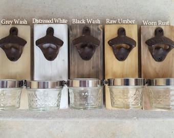 Miniature Wall Mounted Bottle Opener with Mason Jar Cap Catcher. Reclaimed Wood Wall Beer Bottle Opener. Beer Gifts.