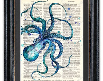 Octopus 3, Dictionary Art Print, Octopus Art, Octopus Wall Art, Octopus Poster, Octopus Decor, Octopus Print, Vintage Octopus