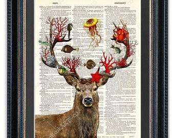Deer With Marine World, Dictionary Art Print, Wall Art, Wall Decor, Dictionary Art, Octopus Art, Marine Wall Art, Vintage Dictionary