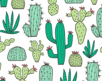 cactus crib sheet - green, Palm Springs, desert, baby girl, nursery, fitted sheet , changing mat cover