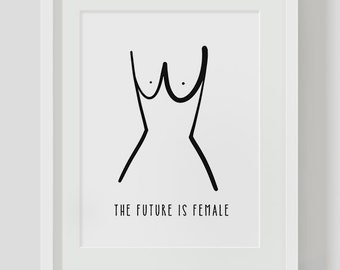 The Future Is Female Illustration INSTANT DOWNLOAD Art, Illustration Printable, Minimalist, Minimalist Art, Feminist Art, Female Art