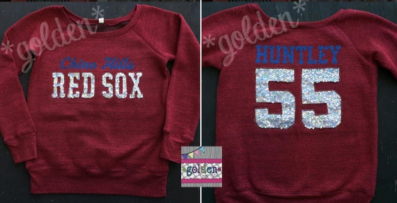 Personalized Team Off Shoulder 3/4 Long Sleeve Top, Baseball, Basketball, Football, Cheer, Mom Jersey, Sequin, Little League, Cheer