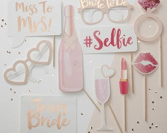 Team Bride - Bridal Shower Photo Prop Pack - Party Hen Party photo booth Pack party games - props