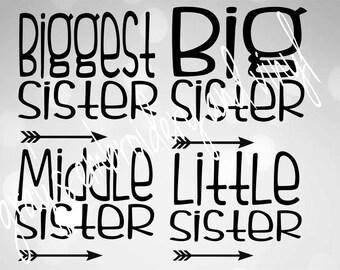 biggest sister, big sister, middle sister, little sister DXF