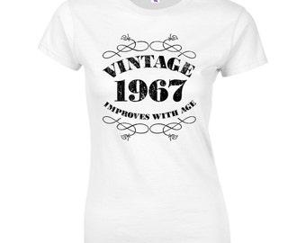Women's 50th Birthday T Shirt Funny Vintage 1967 50th Birthday Gifts *GIFT BOXED free of charge!*