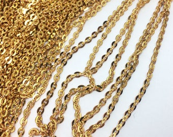 10/50 Yards Raw Brass Hammered Flat Cable Chain Oval Soldered Link Findings Welded 235/245/260