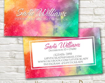LipSense Business Cards - Rainbow Watercolor -SeneGence - Independent Distributor - Custom Personalized Digital MakeUp Lipstick Card