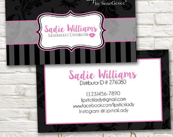 LipSense Business Cards Black and Gray Stripes -SeneGence - Independent Distributor - Custom Personalized Digital MakeUp Lipstick Card