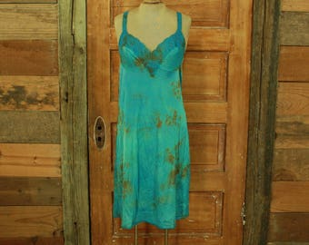 SALE vintage 1960s tie dyed blue olive green hand dyed slip dress gown lace details M L