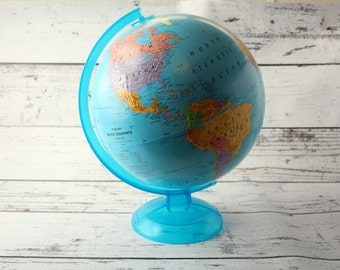 """Vintage Replogle Topographical World Discovery Globe Blue Ocean & Transparent Plastic Base Earth Base Spinning 12"""" Adventurer Raised Relief"""