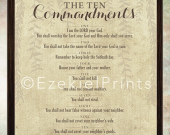 10 Commandments Wall Art Printable { Religious } { Instant Download }