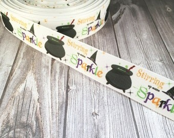 Halloween ribbon - Witch ribbon - Stirring sparkle - Cauldron ribbon - Holiday fun - 1 inch holiday ribbon - Wishes brew - Witch hat