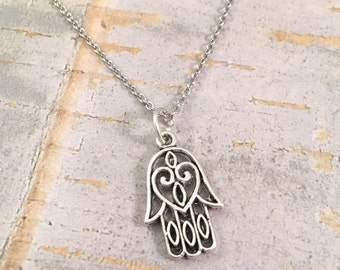 Hamsa charm necklace, Fatima hand charm, stainless steel necklace, hand charm necklace, Hand charm, for her, good luck necklace