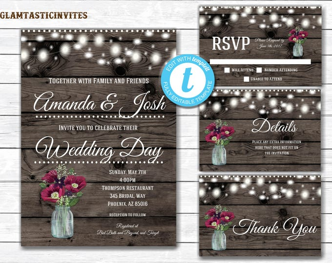 Rustic Wedding Invitation Template, Wedding Invitation Template, Rustic Wedding Invitation set, Wedding Invitation Set, INSTANT DOWNLOAD