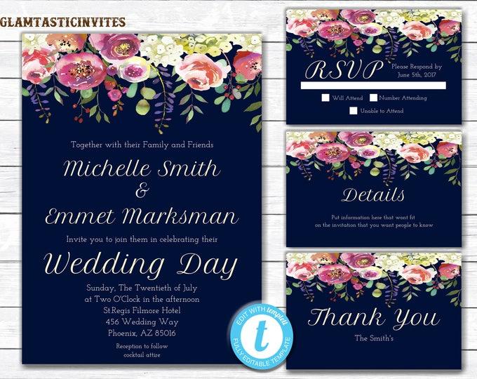 Wedding Invitation, Navy Blue Wedding Invitation, Floral Wedding Invitation, Elegant Wedding Invitation, Wedding Invitation Set, YOU EDIT