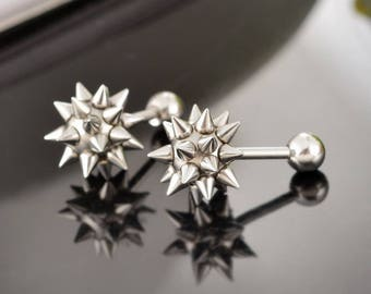 Stainless Steel 316 L Spiked Ball, Spiked Star Earrings, Black  and Silver Spike Balls Earrings, Spike Stud Earrings, 1 pcs