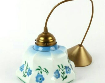 Antique French Opaline Lamp with Flower Print