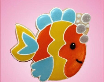 Pink Fitz Fish with Bubbles Cookie Cutter