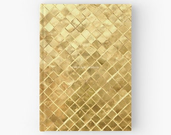 Golden Checkerboard Hard Cover Book, Journal - You Choose Paper Style!