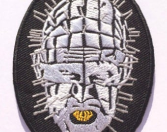 Hellraiser Pinhead Patch Embroidered Iron / Sew on Badge Horror Movie Series Lead Cenobite Cotton Applique Souvenir Motif DIY Costume