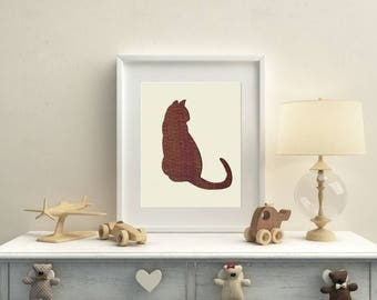 Cat Textile Art made with Hand Woven fabric.