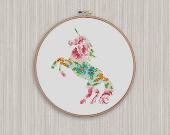 BOGO FREE! Unicorn Cross Stitch Pattern, Floral Unicorn Flowers Silhouette Counted Cross Stitch, Unicorn Animal Modern Home Decor #025-20