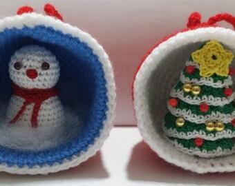 Christmas balls with character inside | Crochet | Amigurumi