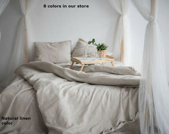100% Linen Duvet Cover Eco Organic Bedding, Twin Full Queen King California size Duvet Comforter Cover Natural Colors Flax Organic Linen